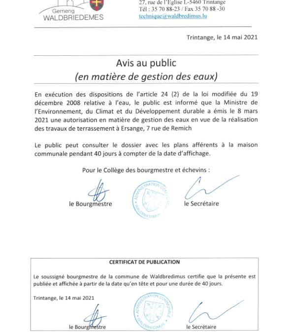 Autorisation en matière de gestion des eaux – Ersange, 7 rue de Remich –  140521